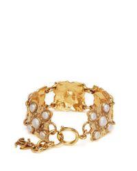 Chanel - Metallic Faux Pearl Sqaure Link Bracelet - Lyst