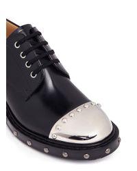 Alexander McQueen Black Hobnail Metal Plate Leather Derbies for men