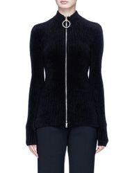 Emilio Pucci | Black Glass Crystal Embellished O-ring Zip Chenille Cardigan | Lyst