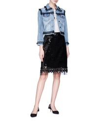 Marc Jacobs - Black Organza Underlay Sequin Embroidered Beaded Fringe Skirt - Lyst