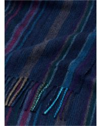 Paul Smith - Blue Stripe Wool Twill Scarf for Men - Lyst