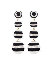 Kenneth Jay Lane - Multicolor Stripe Threaded Sphere Drop Clip Earrings - Lyst
