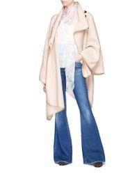 Chloé - Pink 'manteau' Buttoned Virgin Wool Blend Herringbone Cape - Lyst