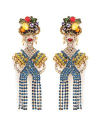 Elizabeth Cole - Metallic 'chiquita' Swarovski Crystal Woman Drop Earrings - Lyst