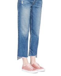 Pedder Red | Pink 'jody' Star Pin Frayed Satin Sneakers | Lyst