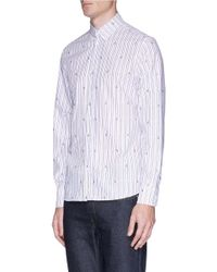 Maison Kitsuné - Multicolor Fox Fil Coupé Stripe Shirt for Men - Lyst