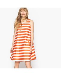 LA REDOUTE - Orange Striped A-line Dress With Back Bow - Lyst