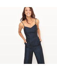 LA REDOUTE - Blue Cotton/linen Jumpsuit - Lyst