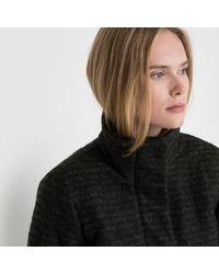 Ichi - Black Segaz Ja Zip-up Coat With Stand-up Collar And Padded Interior - Lyst
