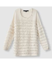 French Connection | White Fringed Openwork Jumper/sweater With Crew Neck | Lyst