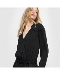 LA REDOUTE - Black Long-sleeved Crêpe Jumpsuit - Lyst