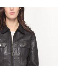 LA REDOUTE - Black Leather Zip-up Jacket - Lyst