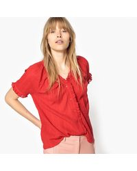 LA REDOUTE - Red Short-sleeved Blouse With Ruffles - Lyst