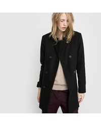 LA REDOUTE - Black Collarless Straight Cut Coat - Lyst