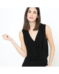 La Redoute - Black Jumpsuit With Cross-over V-neckline And Belt - Lyst