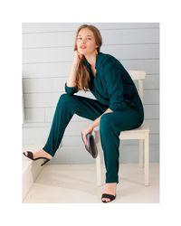 LA REDOUTE - Black Long-sleeved Crêpe Jumpsuit - Lyst