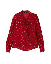ONLY - Red Floral Print Pussy Bow Shirt - Lyst