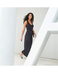 LA REDOUTE - Black Belted Maxi Dress With Cross Back Straps - Lyst