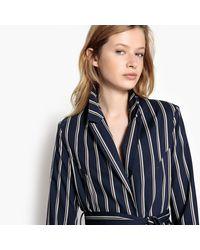 LA REDOUTE - Blue Striped Fitted Blazer With Tie Waist - Lyst