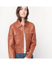 LA REDOUTE - Brown Leather Zip-up Jacket - Lyst