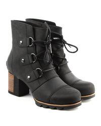 Sorel - Addington Black Leather Lace Up Ankle Boot - Lyst