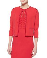 ESCADA - Red Knit-trimmed Open Cardigan - Lyst