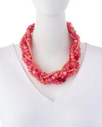 Lydell NYC - Pink Multi-strand Torsade Necklace - Lyst