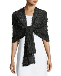 Karl Lagerfeld - Black Floral-appliqué Stole Scarf - Lyst
