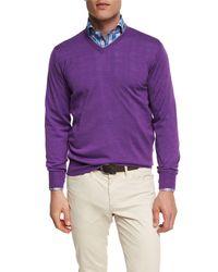 Peter Millar - Purple Merino Wool-silk V-neck Sweater for Men - Lyst