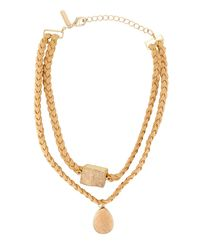 Panacea | Natural Double-row Braided Suede Choker Necklace W/ Druzy Stones | Lyst