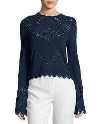 10 Crosby Derek Lam - Blue Pointelle Crewneck Cotton Sweater - Lyst