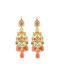 Jose & Maria Barrera - Metallic Coral- & Jade-hued Chandelier Earrings - Lyst