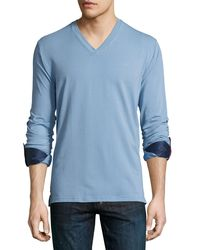 Maceoo - Blue V-neck Contrast-cuff Shirt for Men - Lyst