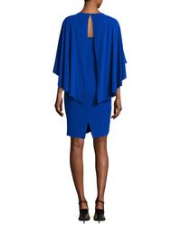 St. John | Blue Sequin Cape Dress | Lyst
