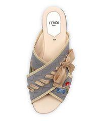 Fendi - Multicolor Crisscross Knit Slide Sandal - Lyst