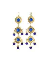 Jose & Maria Barrera | Blue Cabochon & Crystal Triple-drop Earrings | Lyst