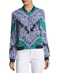 Laundry by Shelli Segal | Blue Leaf-print Bomber Jacket | Lyst