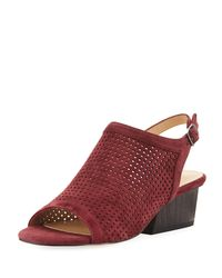 Neiman Marcus - Red Corrie Perforated Slingback Sandals - Lyst
