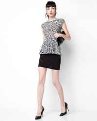 Rebecca Taylor - Gray Leopard-print Peplum Top - Lyst