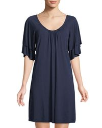 Three Dots - Blue Classic Spring Tiered-sleeve Shift Dress - Lyst