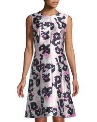 Oscar de la Renta - Pink Sleeveless Floral-mikado A-line Dress - Lyst