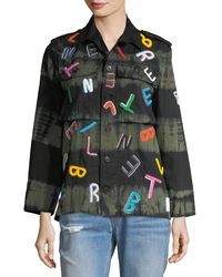 Libertine Multicolor Tie-dye Army Jacket With Letter Embroidery