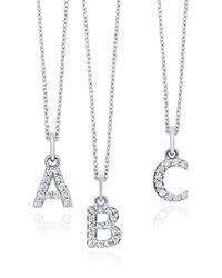 KC Designs | 14k White Gold Diamond Initial Pendant Necklace | Lyst