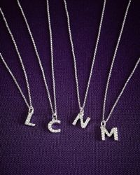 KC Designs - Purple 14k Yellow Gold Diamond Initial & Chain - Lyst
