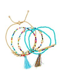 Fragments - Blue Beaded Tasseled Stretch Bracelets - Lyst