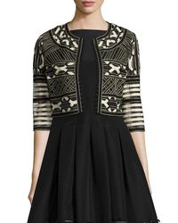 Lela Rose | Black Ribbon-embroidered Cropped Jacket | Lyst