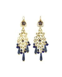 Jose & Maria Barrera - Blue Sodalite & Crystal Chandelier Earrings - Lyst