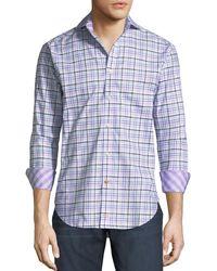 Thomas Dean - Yellow Check-print Dobby Sport Shirt for Men - Lyst