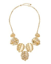 Lydell NYC | Metallic Crystal Leaf Drop Necklace | Lyst