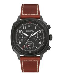 Bulova - Black 42.5mm Classic Men's Chronograph Watch W/ Leather Strap for Men - Lyst